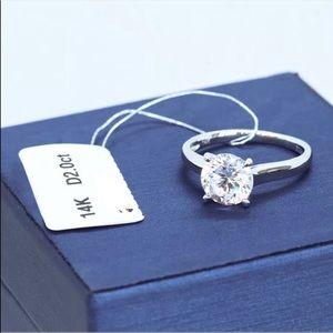 Women's engagement bridal ring 14K white gold